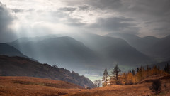 (JasonPC) Tags: lake district cumbria uk england light rays clouds mountains haze autumn trees colours valley