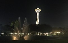 Space Needle and the International Fountain (Yadira Fuentes) Tags: water fountain structure architecture light washington seattle 2018 october cameraphone nightshot night spaceneedle spaceneedleandtheinternationalfountain