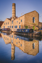Rochdale Canal, Hebden Bridge (Jon Ritchie) Tags: hebdenbridge rochdalecanal yorkshire westyorkshire reflection canalboat canal narrowboat mill factory industry visityorkshire