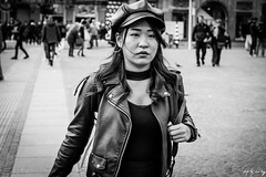 Glam In Amsterdam (Cycling-Road-Hog) Tags: blackwhite candid canoneos750d cap citylife colour fashion hat lipstick monochrome people sigma1750mmf28 street streetphotography streetportrait style urban amsterdam damsquare leather