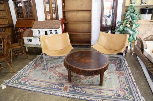Set of 2 Mid-Century modern leather chairs ($448)