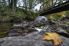 Trestle in glass (Parchman Kid (Jerry)) Tags: train trestle glass ball windesheim germany parchmankid sony a6500 landscape crystal leaf autumn