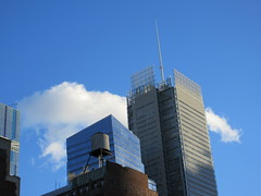 2018 November Clouds and Virtual Clock 4233 (Brechtbug) Tags: 2018 november clouds virtual clock tower from hells kitchen clinton near times square broadway nyc 11032018 new york city midtown manhattan fall autumn weather building dark low hanging cloud hell s nemo southern view ny1rain