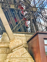 Paris  France  -  Eiffel Tower Red Elevator - Iconic Landmark