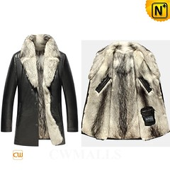 Men Fur Coat | CWMALLS® Montreal Wolf Fur Lined Leather Coat CW855587 [Free Custom Made] (cwmalls2018) Tags: men wolf fur leather coat black custommade winterwear fashion gift christmas