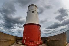At the end of the Jetty (Evoljo) Tags: berwick northumberland lighthouse jetty sky light warning sea ocean fisheye nikon hdr d500