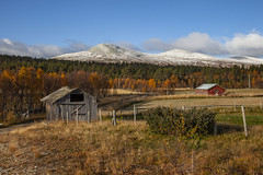 huts (crazyhorse_mk) Tags: gloføken langsjøen hedmark norway landscape nature sky clouds morning huts forest autumn fall snow mountain summit