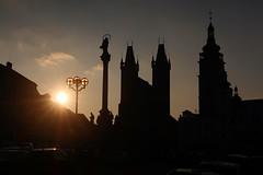 Cathedral of St. The Spirit and the White Tower in Hradec Králové (ZdenHer) Tags: cathedral tower hradec králové church city sunset sun statue sky night czechrepublic hradeckrálové whitetower canonpowershotg7xmarkii