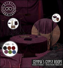 Infinite - Gemma's Gypsy Room (Divine Falodir (Infinite)) Tags: modern contemporary gypsy second life salem halloween magic velvet rustic wood cloth witch hat house architecture fantasy rp fabulous