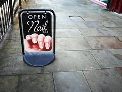 Ouch! (the justified sinner) Tags: justifiedsinner nail bar open sign strange westmidlands panasonic 17 20mm gx7 wolverhampton