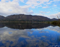 reflection (forevertide) Tags: sky water reflection imagesinwater lake landscape mountains scenery clouds blue fishingday relax fishing photo mirrorimage scenicsnotjustlandscapes