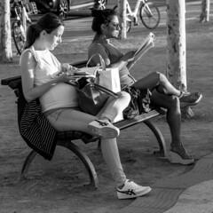 bench sharing (every pixel counts) Tags: 2018 düsseldorf nrw street people city bench germany everypixelcounts blackandwhite women reading square bw book europa 11 autumn blackwhite bag bolsa day
