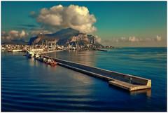 Arriving in Palermo (kurtwolf303) Tags: palermo hafen harbor hill monreale sky clouds himmel wolken water sea ocean meer wasser nikoncoolpixs9900 sizilien kurtwolf303 italy italien italia montecaputo landschaft landscape