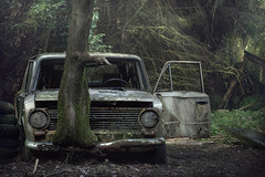 Wrong Turn (andre govia.) Tags: abandoned andregovia car urbex urbanexploration decayed trees woods rusty
