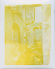 House interior (Polaroid 690) (mmartinsson) Tags: 2018 peelapart abandoned expired ruins mamiyauniversal scan instantfilm 75mm mamiyasekorp epsonperfectionv700 polaroid yellow town 690 gairo sardegna italien it