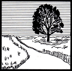 bóthar (road). (stiobhard) Tags: stiobhard rapidograph gaoluinn gaeilge drawing illustration kohinoor technicalpen bw black white ink pen art hatching line linguistics language blackandwhite monochrome learning irish vocabulary gloss flashcards concept endangeredlanguages minoritylanguages celtic penandink small square sketch sketchbook bothar road bóthar bóthair bóithre cow cattletrail countryside rural transportation landscape inktober inktober2018