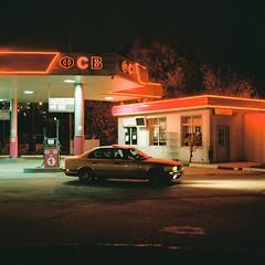 Midnight meeting (belousovph) Tags: portra400 mediumformat analog film portra kodak 120 zenzanon bronica light russia minimal atmospheric sky square auto road car trailer oldschool classic neon building sign