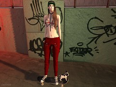 Entrance no. 314 (Curiosse) Tags: top overall red white black urban new release 2018 luxeparis october outfit face tattoo viena