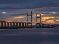 Where Two Ends Meet (Wizard CG) Tags: tags high tide shade 10 welding glass landscape second severn crossing the south west uk bridge bristol channel coast coastal landmark long exposure rocks water river seascape sunset hdr ngc world trekker micro four thirds 43 m43 olympus mzuiko digital ed architecture tourist attraction outdoor sky