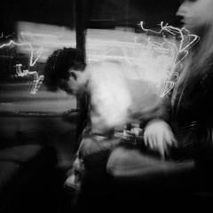 Buses in the City 17 (Zlatko Parmakovski) Tags: blackandwhite black dark noir dream sleep bus street streetphotography busesinthecity people skopje скопје huawei p10 light trails