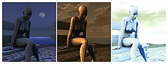 One of These Days (Loegan Magic) Tags: secondlife bench collage statue water sky moon