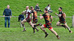 Coming upsides (Steve Barowik) Tags: yorkshire westyorkshire nikond500 barowik leeds ls26 stevebarowik sbofls26 rugbyleague rl nationalleague 70200mmf28gvrii sport competition try conversion penalty sinbin referee linesman ball pitch sticks posts team watercarrier dx cropframe kick pass offload dropkick forwardpass centre wing prop forward back fullback unlimitedphotos wonderfulworld quantumentanglement shawcrosssharks thornhilltrojans nationalconferencedivisionone