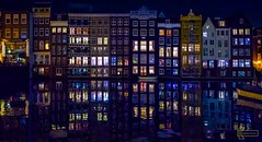 Amsterdam houses reflection (Kostas Trovas) Tags: amsterdam boats netherlands reflection river travel apartments canal dutch houses lights night nightphotography nightlife symmetry water architecture buildings cityscape