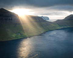 Blessed Island (Fabian Fortmann) Tags: faroe islands färöer light sunrays sonnenstrahlen island insel harbor hafen village