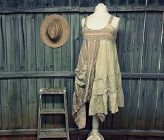 XL Linen Jumper Dress, Shabby Chic Smock Dress, Lagenlook Country Chic Style, Eco Friendly, Upcycled Clothing for Women by Primitive Fringe by PrimitiveFringe (Primitive Fringe) Tags: upcycled clothing boho shabby chic handmade etsy mori girl