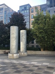Design Elements (Melinda * Young) Tags: surface finish gray ventilators sculpture landscape intentional columns metal cylinders uc berkeley courtyard residential dormitories unitsoneandtwo pavers design chillers