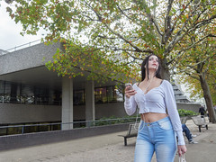 South Bank. 20181025T15-12-33Z (fitzrovialitter) Tags: bishopsward england gbr geo:lat=5150818000 geo:lon=011262000 geotagged unitedkingdom waterloo faded jeans girl peterfoster fitzrovialitter city camden westminster streets urban street environment london fitzrovia streetphotography documentary authenticstreet reportage photojournalism editorial daybyday journal diary captureone olympusem1markii mzuiko 1240mmpro microfourthirds mft m43 μ43 μft ultragpslogger geosetter exiftool portrait streetportrait candid streetcandid candidstreet candidportrait eyes phone concrete building