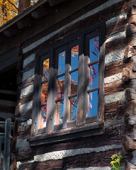 Fall reflection (Cheryl3001) Tags: fall reflection log cabin window fujifilm xt2 35mm f2