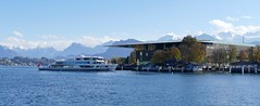 Luzern KKL Ship Diamant and panoramic mountains Switzerland (roli_b) Tags: luzern lucerne viewaldstättersee see lake lago kkl kultur und kongress zentrum congress centre palace panoramic view mountains berge landscape panorama ship schiff diamant new boot boat vessel marine