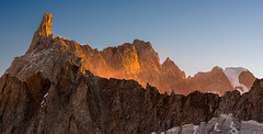Dente del Gigante (4013mt) at sunrise (Palnick) Tags: nature travel sky beautiful tourism outdoor blue landscape mountain view natural scenic europe peak rock snow alps winter scenery background white alpine clouds italy glacier top cold ice high panorama beauty jorasses water tree chamonix european french mont range forest extreme summit blanc france indonesia summer du dentedelgigante sea aiguille