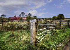 barn and post (jsleighton) Tags: barn farm field fence post gate grass sky landscape