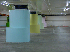 The Buffer Zone (Steve Taylor (Photography)) Tags: baseisolaters support carpark arrow architecture light blue green pink yellow pastel concrete rubber newzealand nz southisland canterbury christchurch city round artgallery earthquake quake