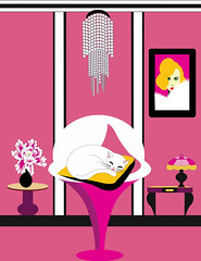 white cat sleeping in pink room (illustrationvintage) Tags: cat white pet background beautiful domestic home mammal light looking furniture apartment feline beauty modern relax adorable flat bed interior wall view cute animal room lighting luxurious sofa illuminated vintage lamp illustration chandelier decor bulb sleeping relaxing quiet table peony flower monroe portrait painting desk pink