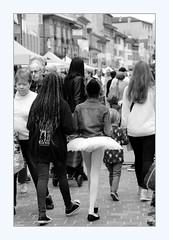 just another market day (overthemoon) Tags: switzerland suisse schweiz svizzera romandie vaud bw frame morges people ballet tutu braids crowd