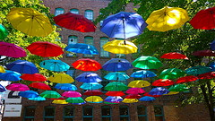 P3100536(RP) Hanging Umbrellas- Outside Yaletown Skytrain Station_July 26, 2018√ (cafe.monde) Tags: umbrellaartinstallation umbrella