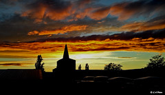 from the roof tops (Lee1885) Tags: sunset silhouette darknight sky spire steeple tower tree roof clouds chester cheshire nikon wales