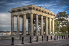Plymouth Rock Monument (donnieking1811) Tags: massachusetts plymouth plymouthrock pilgrimmemorialstatepark monument architecture outdoors trees sky clouds blue boats columns hdr canon 60d lightroom photomatixpro