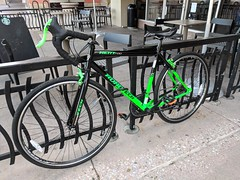 Road Tech (earthdog) Tags: 2018 bike bicycle parked lock googlepixel pixel androidapp moblog cameraphone starbucks cafe coffeehouse fence sanjose