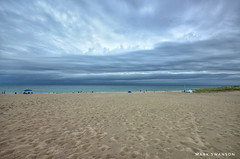 Morning Storm (mswan777) Tags: horizon cloud sky 1020mm sigma d5100 nikon michigan bridgman weather wind gray blue wave water beach footprints sand coast shore seascape lightning thunder storm nature outdoor