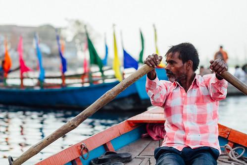 Rowing Boatman, Mathura India