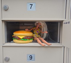 An Encounter With Barbie and a Giant Cheeseburger in Mailbox #8 (ricko) Tags: mailbox barbie doll cheeseburger rubber numbers werehere 2018 282365