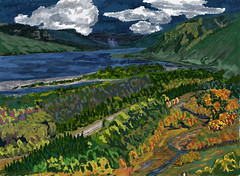 My Travel Paintings - Columbia River Gorge Crown Point (thor_mark ) Tags: angelsrest aroundcrownpoint aroundvistahouse autumn blueskieswithclouds carsdriving cascaderange colors columbiariver columbiarivergorge columbiarivergorgenationalscenicarea columbiariverhwy creek crownpointvistahouse day8 highway hillside hillsideoftrees historiccolumbiariverhighway historiccolumbiariverhighwayscenicbyway interstate84 lookingene meadow mounthoodarea multiplecolors multitudeofplantleafcolors nationalscenicarea nature oregoncascades pacificranges river sandisland trees triptomountrainierandcolumbiarivergorge usroute30 vistahouse youngcreek azimuth65 digitalpainting adobedraw adobeillustratordraw ipad artdigital ipadprodrawing applepencil corbett oregon unitedstates