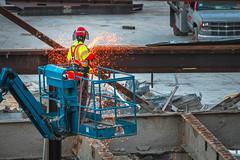 Cutter with Welding Machine (clif_burns) Tags: california construction losangeles sparks welder welding worker