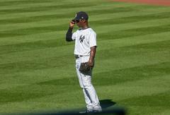 New Yankees outfielder Andrew McCutchen stands at the ready against the Blue Jays, 9/16/2018. (apardavila) Tags: andrewmccutchen mlb majorleaguebaseball newyorkyankees yankeestadium yankees yanks baseball sports