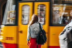 On the go! (ewitsoe) Tags: 35mm city europe ewitsoe nikond80 street warszawa erikwitsoe poland summer urban warsaw gastonluga backpack woman model fashion style tram trammotion blur motion fun buzz stylish pretty lady female frombehind