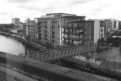 Manchester (926) & Salford (14) (benmet47) Tags: street city urban buildings architecture water river canal riverirwell manchestershipcanal bridge bw blackwhite
